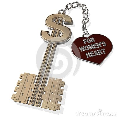 Key for women s heart  isolated on a white