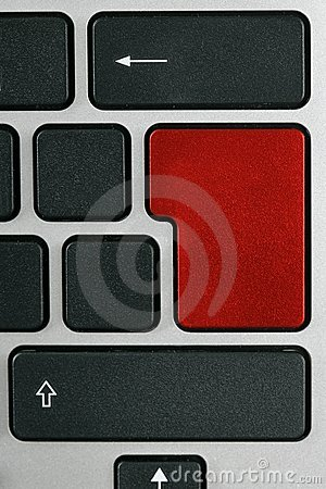 Keyboard with enter key in red color