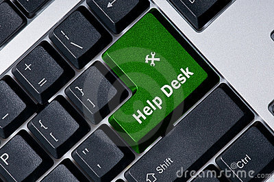 Keyboard with green key Help Desk