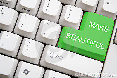 Keyboard with green MAKE BEAUTIFUL button