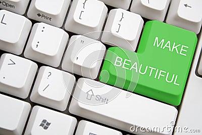 Keyboard with green MAKE BEAUTIFUL button