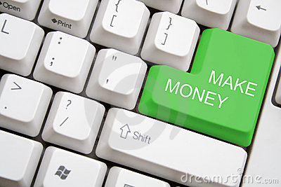 Keyboard with green MAKE MONEY button