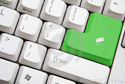 Keyboard with green SENT MAIL button