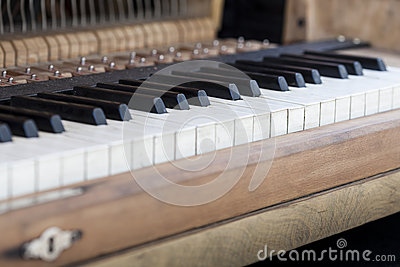 Keyboard of old piano.
