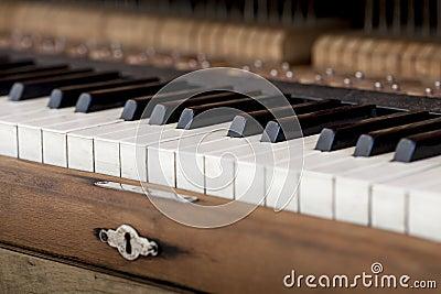 Keyboard of old piano.