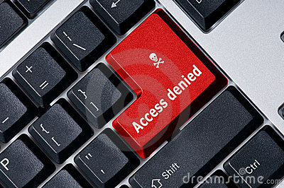 Keyboard with red key Access denied