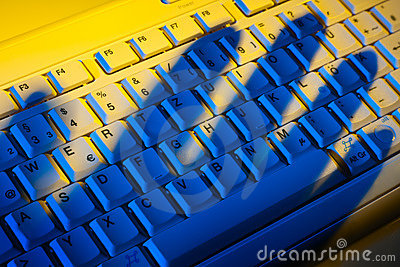 Keyboard and shadow. Data theft.