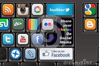 Keyboard Social media Editorial Stock Image
