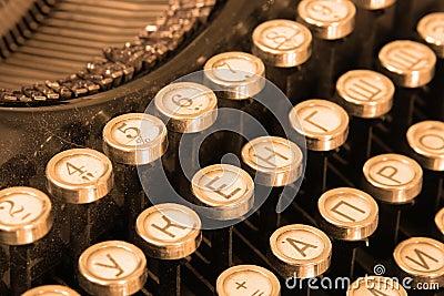 Keyboard of vintage typewriter
