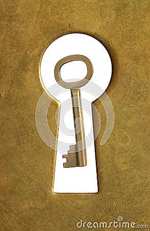 Keyhole and key.