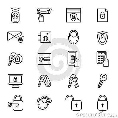 Free Keys And Locks Thin Line Icon Set. Vector Royalty Free Stock Photography - 100103007