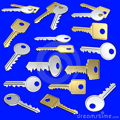 Keys arranged on a neutral background