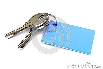 Keys with a Blank Blue Keyring
