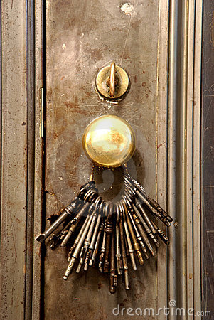 Keys on a door