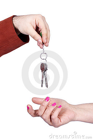 Keys giving hand