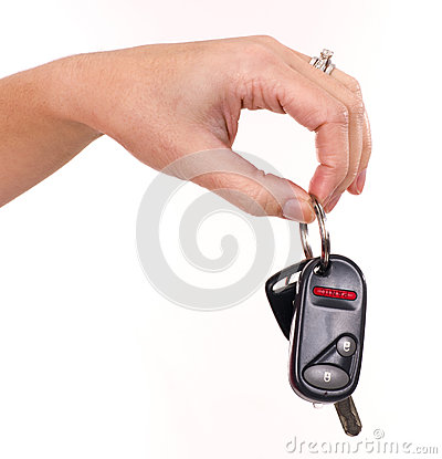 Woman Holds Electronic Car Keys in Hand Fingers