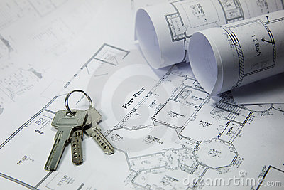 Keys on house plan