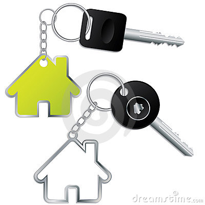 Keys with house shaped keyholders