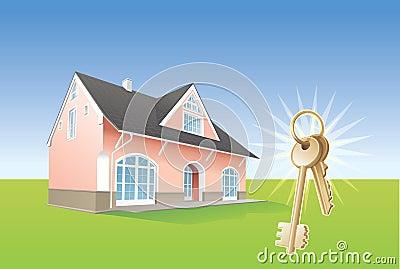 Keys, new home, realty. Vector
