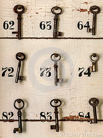 Free Keys Of A Hotel Hanging On A Wall Stock Photos - 26172153