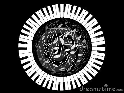 Keys of the piano and sphere from notes