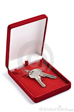 Keys in red gift box isolated
