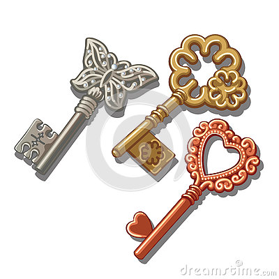 Free Keys With Butterfly, Circle And Heart Ornament Stock Image - 76789451
