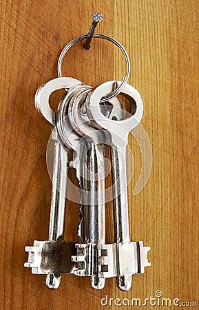 Keys on a wooden wall