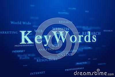 Keywords on blue background.