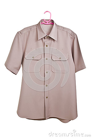 Khaki shirt uniform  on white background