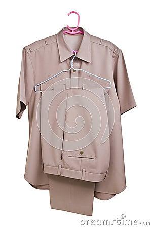 Khaki shirt uniform  on white background