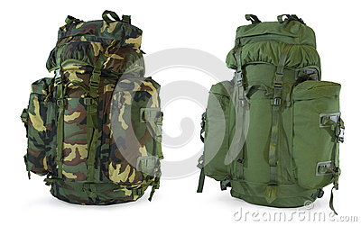 Khaki and woodland camouflage backpacks