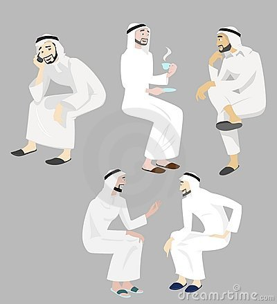 Khaliji Men Icons In Sitting Positions