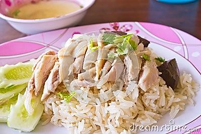 Thai food gourmet steamed chicken with rice , khao mun kai.