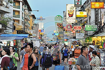 Khao San Road in Bangkok Editorial Stock Photo
