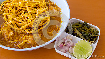 Khao soy, a local food in Chiangrai
