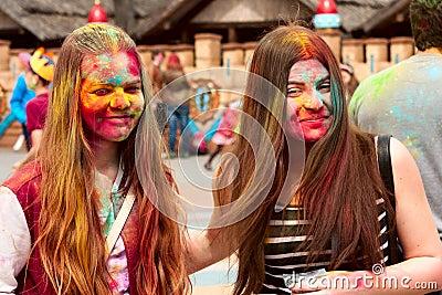 Kharkiv, Ukraine - April 24, 2016. Group of happy girls on holi festival Editorial Stock Photo