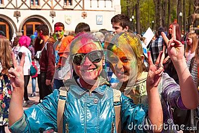 Kharkiv, Ukraine - April 24, 2016. Group of happy girls on holi festival Editorial Image