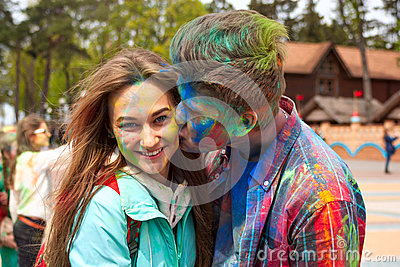 Kharkiv, Ukraine - April 24, 2016. Portrait of happy couple in love on holi festival Editorial Photography
