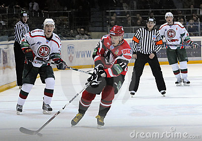 KHL hockey Automobilist vs AK Bars Editorial Stock Image