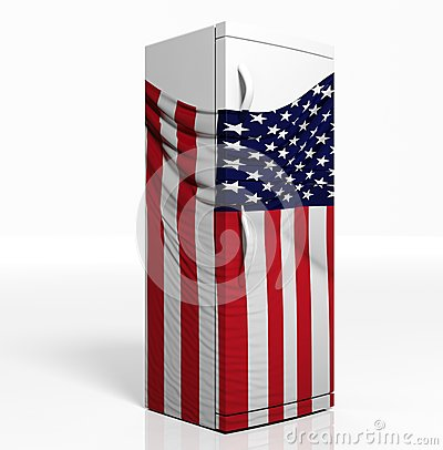 k hlschrank 3d mit amerikanischer flagge stockfoto bild. Black Bedroom Furniture Sets. Home Design Ideas