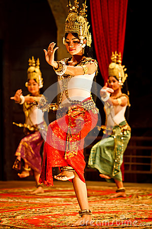 Khmer classical dancers in costume Editorial Stock Photo