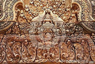 Khmer relief in Banteay Srei