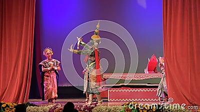 Khon, de hoge kunst van Thai met elegantie stock videobeelden