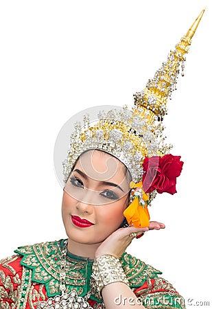 Khon show beautiful women and  traditional costume