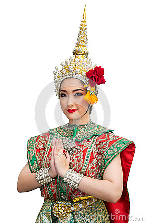 Khon show beautiful women and  traditional costume