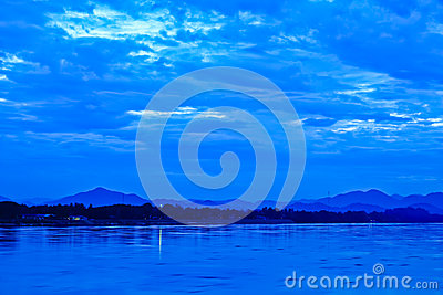Khong river and blue sky before sunrise