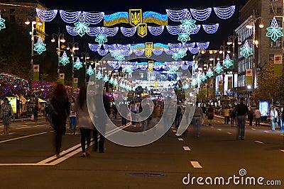 Khreshchatyk  at night in Kyiv. Editorial Image