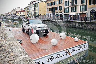 Kia Soul exhibition, Fuorisalone at Navigli Design District Editorial Photography