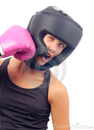 Free Kick Boxer Girl Punched In The Face Royalty Free Stock Photography - 22337467